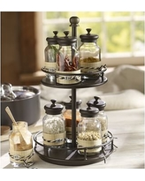Rotary Spice Rack with 9 Glass Jars, Bronze finish