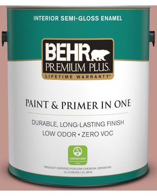 BEHR Premium Plus 1 gal. #MQ1-18 Pressed Blossoms Semi-Gloss Enamel Low Odor Interior Paint and Primer in One