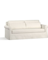 "York Roll Arm Slipcovered Deep Seat Sofa 84"" with Bench Cushion, Down Blend Wrapped Cushions, Performance Twill Warm White"
