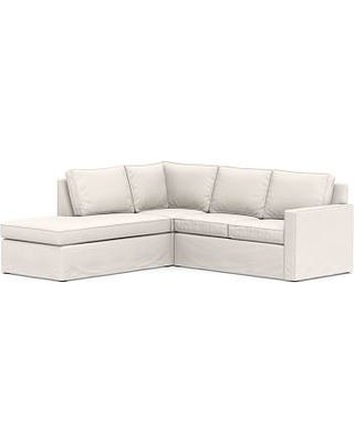 Cameron Square Arm Slipcovered Right 3-Piece Bumper Corner Sectional, Polyester Wrapped Cushions, Sunbrella(R) Performance Chenille Salt