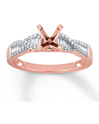 Diamond Ring Setting 1/6 ct tw Round/Baguette 14K Rose Gold