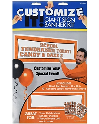 amscan Orange Customizable Giant Sign Banner   Party Decor   12 Ct.