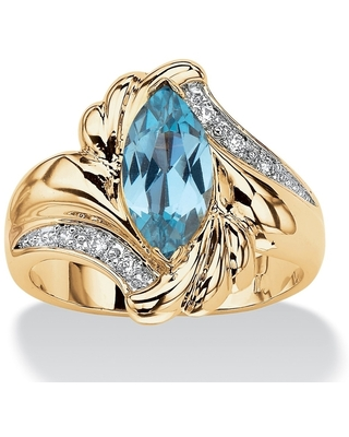 Yellow Gold-plated Blue Cubic Zirconia Ring - White