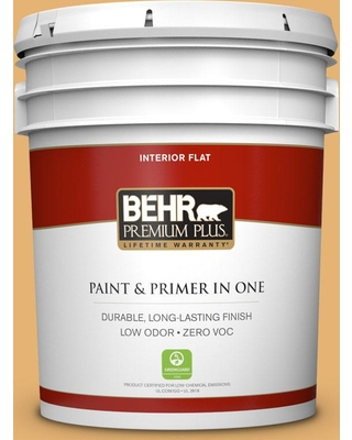 BEHR Premium Plus 5 gal. #PPU6-04 Pyramid Gold Flat Low Odor Interior Paint and Primer in One