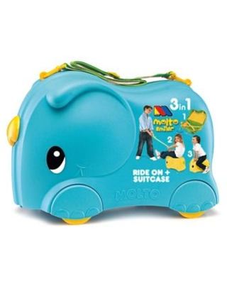 Molto 2-in-1 Smiler Basic Jumbo Suitcase Ride-On in Blue