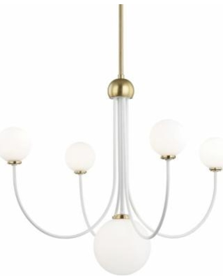 Mitzi Coco 30 Inch 5 Light LED Chandelier - H234805-AGB-WH