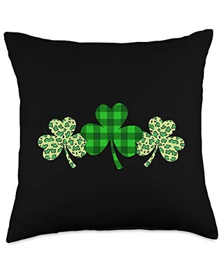 Lucky Shamrock Leaf St Patrick's Day Gifts Shamrock Leaf Gift for St Patrick's Day Throw Pillow, 18x18, Multicolor