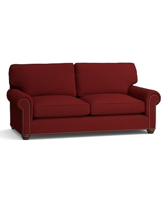 """Webster Roll Arm Upholstered Sofa 85"""" with Bronze Nailheads, Down Blend Wrapped Cushions, Twill Sierra Red"""