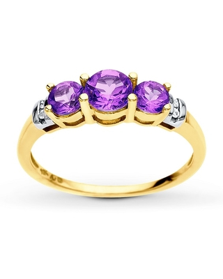 Jared The Galleria Of Jewelry Amethyst Ring Diamond Accents 10K Yellow Gold