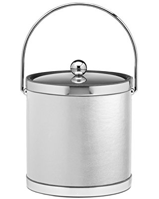 Kraftware Vinyls and MYLARS ice Bucket, 3 Qt, White with Polished Chrome
