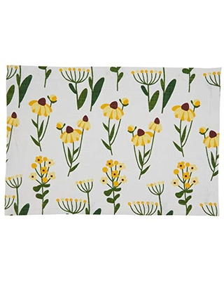 "SARO LIFESTYLE Lyra Collection Daisy Floral Design Placemats (Set of 4), 14""x20"", Yellow"