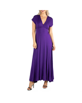 24/7 Comfort Apparel Short Sleeve V Neck Maxi Dress, Small , Purple