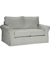 PB Comfort Slipcovered Loveseat, Box Cushion, Polyester Wrap Cushions, Everydaysuede Metal Gray