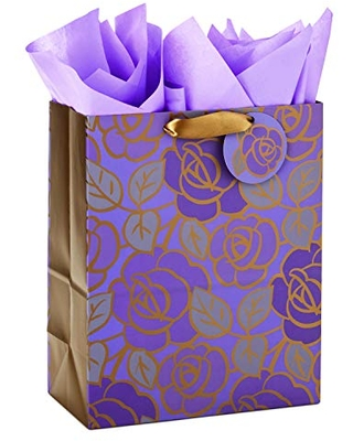 """Hallmark 13"""" Large Gift Bag with Tissue Paper (Purple Flowers, Gold Accents) for Birthdays, Mother's Day, Bridal Showers, Weddings, Retirements, Anniversaries, Engagements, Any Occasion"""