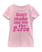 Star Wars Pink Girls 7-16 Retro Force Quote Short Sleeve Graphic T-Shirt