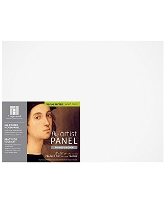 """Ampersand Art Supply Wood Gesso Artist Painting Panel: Primed Smooth, 12"""" x 16"""", 7/8"""" Cradled Profile"""