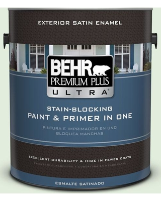 BEHR ULTRA 1 gal. #M400-1 Establish Mint Satin Enamel Exterior Paint and Primer in One