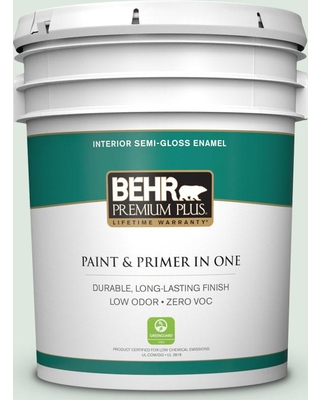 BEHR Premium Plus 5 gal. #460E-1 Meadow Light Semi-Gloss Enamel Low Odor Interior Paint and Primer in One