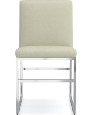 Lancaster Dining Side Chair, Belgian Linen, Stone, Polished Nickel