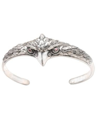 Amethyst and Sterling Silver Owl Cuff Bracelet