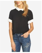 CeCe Colorblocked Collared Blouse - Rich Black