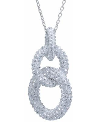 """""""Sterling Silver Crystal Interlocking Links Pendant Necklace, Women's, Size: 18"""", White"""""""