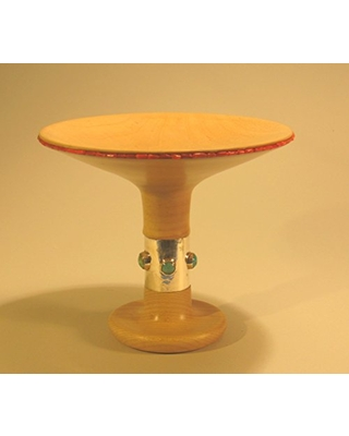 Maple dish on pedestal base with coral beads and turquoise cabochons