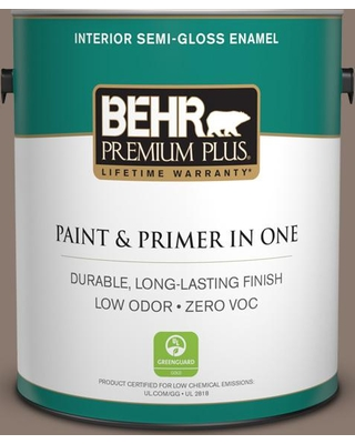 BEHR Premium Plus 1 gal. #T18-07 Road Less Travelled Semi-Gloss Enamel Low Odor Interior Paint and Primer in One