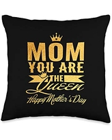 Family 365 Mom The Queen Happy Mothers Day Women Gift Throw Pillow, 16x16, Multicolor