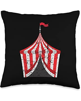 Funny Circus Event Staff Design Carnival Tent Cute Distressed Vintage Circus Throw Pillow, 16x16, Multicolor