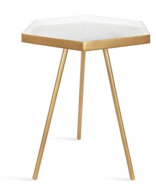 Kate And Laurel Kashvi Side Table In White/gold