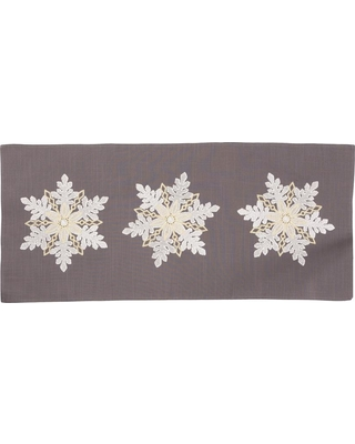 Xia Home Fashions 0.1 in. H x 16 in. W x 36 in. D Sparkling Snowflakes Embroidered Double Layer Christmas Table Runner, Dark Gray
