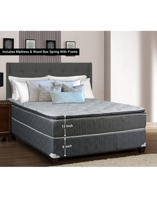 WAYTON, 13-inch Fully Assembled Medium Plush Pillow Top Innerspring Mattress and Wood Box Spring/foundation Set with Frame / 74x48 / Grey And White Color