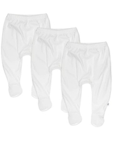 HonestBaby 3-Pack Organic Cotton Footed Harem Pants, Bright White, 3-6 Months