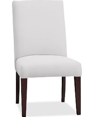 PB Comfort Square Upholstered Dining Side Chair, Twill White