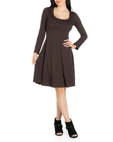 24/7 Comfort Apparel Long Sleeve Floral A-Line Dress, Small , Brown