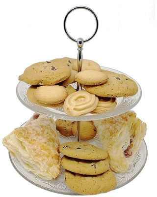2-Tier Crystal Glass Cake & Pastry Stand - Crystal Clear Elegant Dessert Stand - Pastry Serving Tray - LEAD (Pb) FREE (1 Piece)