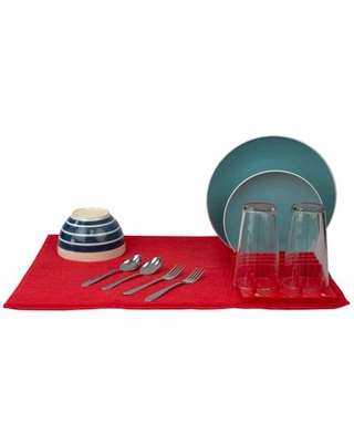 Low Profile Plastic Dish Drying Rack with Buttoned Micro Fiber Drying Mat, Red