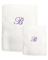 Sweet Kids 2-piece White Turkish Cotton Bath and Hand Towel Set with Lavender Purple Monogrammed Initial