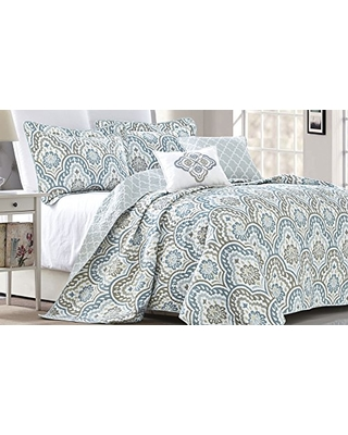 Amazing Deal On Serenta Tivoli Ikat Design 5 Piece Teal Aqua Printed - Quilted-blankets-for-the-bed