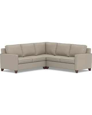 Cameron Square Arm Upholstered 3-Piece L-Shaped Corner Sectional, Polyester Wrapped Cushions, Performance Brushed Basketweave Sand