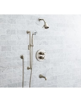 Warby Thermostatic Cross-Handle Bathtub & Hand-Held Shower Faucet Set, Satin Nickel Finish