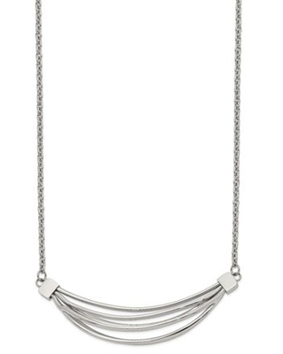 Primal Steel Stainless Steel Polished 3D Curved Bars 20-inch with 2-inch Extension Necklace
