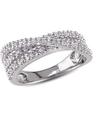 1/4 Carat T.W. Diamond CrossOver Ring in Sterling Silver