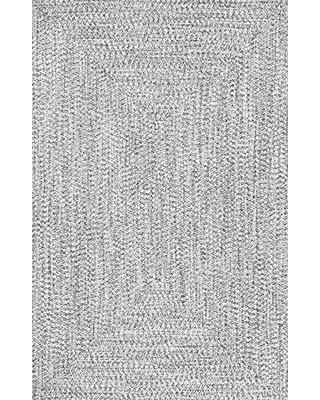 nuLOOM Wynn Braided Indoor/Outdoor Area Rug, 6' Square, Light Grey/Salt and Pepper
