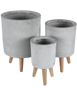 Set of 3 Contemporary Fiber Clay Planters with Wooden Legs Gray - Olivia & May