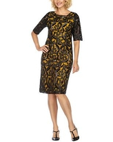 Giovanna Collection Short Sleeve Embellished Sheath Dress, 16 , Yellow