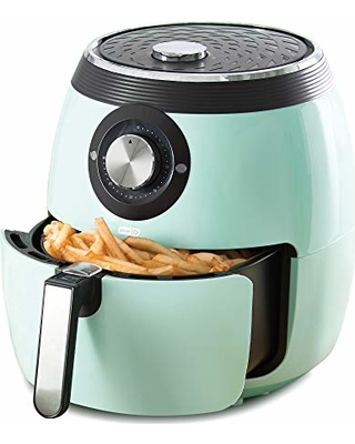 Dash DFAF455GBAQ01 Deluxe Electric Air Fryer + Oven Cooker with Temperature Control, Non Stick Fry Basket, Recipe Guide + Auto Shut Off Feature 6 qt Aqua