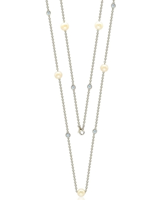 """Suzy L. Sterling Silver White Sapphire and Pearl By-the-Yard 26"""" Station Necklace"""
