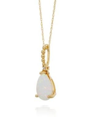 Belk & Co. Opal Opal and Diamond Pendant Necklace in 10k Yellow Gold